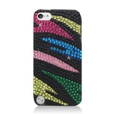 Stunning Rainbow and Zebra Blend  on Black Background Case for iPod Touch 5  from Cool Mobile Accessories