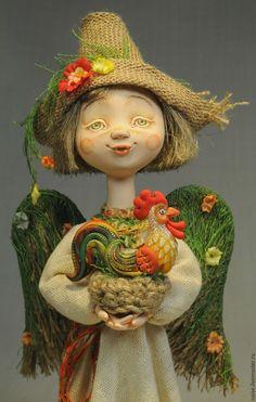 """Купить """"Лесной ангел с петушком"""" - комбинированный, авторская ручная работа, подарок на новый год, сувенир на Новый год"""