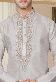 Embroidered Dupion Silk Kurta Pajama in Off White