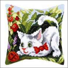 <h2>Coussin canevas gros trous Chat</h2>
