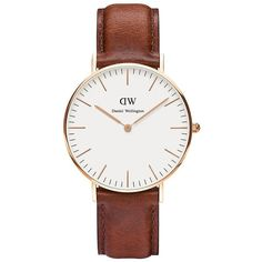 Daniel Wellington St. Andrews Leather Strap Watch (3 090 ZAR) ❤ liked on Polyvore featuring jewelry, watches, accessories, bracelets, brown, polish jewelry, leather strap watches, brown watches, stainless steel jewellery and stainless steel watches