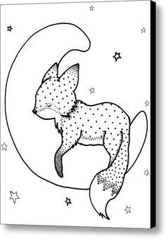 Nursery art, baby fox print. Goodnight Fox Canvas Print / Canvas Art By Hilari Alsip fox art