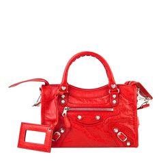 321579448145 Balenciaga Red Leather Giant Mini City Handbag
