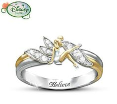 Disney Tinker Bell Believe Two-Toned Engraved Ring