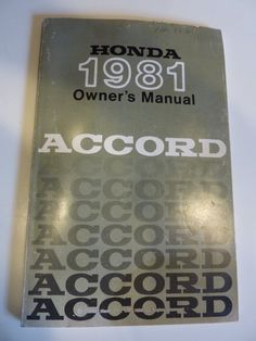 1981 Honda Accord Owner's Manual by BonniesVintageAttic on Etsy, $29.00
