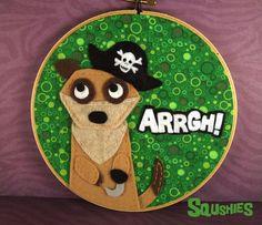 Aarrgh! - Pirate Meerkat Hoop Art - Felt Animal Embroidery Hoop - Home Decor - Wall Art