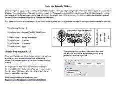 Customizable Numbered Ticket Template for Into the Woods Theatrical