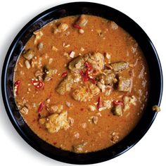 West African Peanut Stew - this one, with eggplant & okra, is closer to the one I remember.
