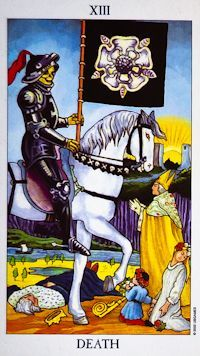 Death Tarot Card Meanings :  Endings, beginnings, change, transformation, transition - Could this be what Phillippe is quoting to Emily?  It is a misunderstood card, not always a bad thing.