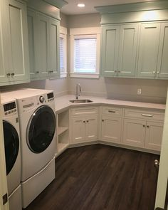 Like The Green Blue Cabinets Except I Want The Same On Top And Bottom Two Tone Cabinetsblue Cabinetscorner Sinkmud Roomslaundry