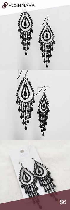 Vintage Styled Teardrop Chandelier Earrings Black beaded dangling chandelier teardrop earrings. These lovely fashion earrings pair well with the little black dress or boho styled clothes. Really pretty classic vintage 1920's styled / boho styled earrings! Designed by Bliss a La Mode. Comes with rubber earring backings. 🏷‼️Ask me to bundle these earrings with any other items from my closet and I will reduce the price of the earrings for just $3! 🏷‼️ PLUS you get extra off 2 or more items…