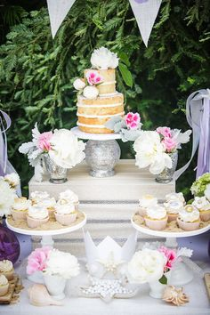 Naked cake + Cupcakes + Florals from a Modern Monochromatic Mermaid Party via Kara's Party Ideas KarasPartyIdeas.com (25)