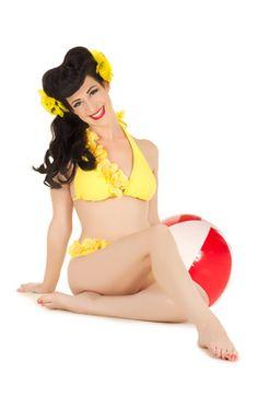 84d2b1a7a5 Little yellow bikini pin-up girl with beach ball Lone Star Pin-up