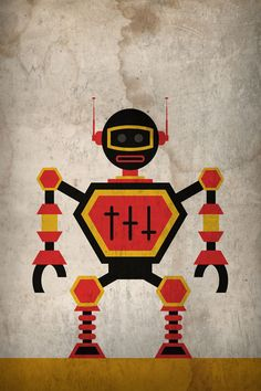 Minimalist Robot Poster by JWC Designs