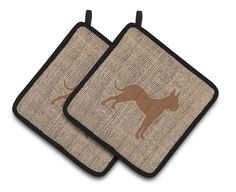 Boxer Faux Burlap and Brown Pair of Pot Holders BB1109-BL-BN-PTHD