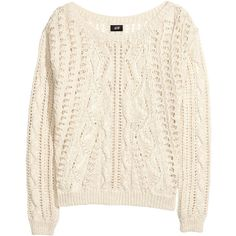 H&M Pattern-knit jumper (€8,24) ❤ liked on Polyvore featuring tops, sweaters, shirts, jumpers, natural white, cotton sweaters, white long sleeve shirt, cotton shirts, white cotton sweater and white long sleeve top
