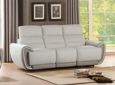 Homelegance Modern Valda Power Reclining Sofa in Ivory Top Grain Leather Leather Corner Sofa, Leather Sofa, Bequemste Couch, Couches, Ex Display Sofas, Most Comfortable Couch, Leather Reclining Sofa, Reclining Sectional, Sectional Sofa
