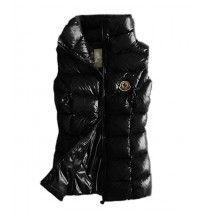 Moncler Designer Womens Down Vests Pure Color Black