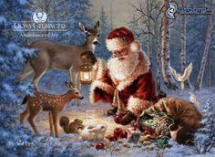 Weihnachtsmann, Tiere, Wald, Geschenke
