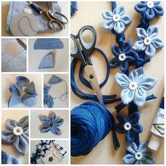 Maxi collana handmade con fiori realizzati con scampoli di jeans #riciclocreativo #craft #fattoamano #ricycling