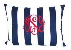 Monogrammed Pillow Navy Blue Stripe by CompanyTwentySix on Etsy