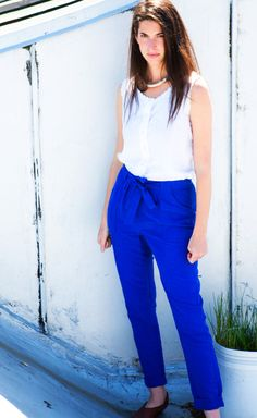 Jaclyn Mayer, Designer & Owner of Orly Genger by Jaclyn Mayer Jewelry I <3 these blue pants!