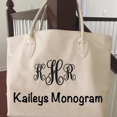 Monogrammed Purse Tote Personalized Cream by KaileysMonogramShop