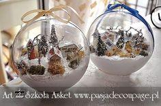 Szkoła Decoupage - Christmas Edition w najbliższym czasie Clear Christmas Ornaments, Christmas Snow Globes, Christmas Sewing, Christmas Villages, Noel Christmas, Christmas Baubles, Vintage Christmas, Christmas Wreaths, Christmas Crafts