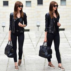 Image via We Heart It #bag #fashion #jacket #skinnies #streetstyle #leopardshoes #basicblack