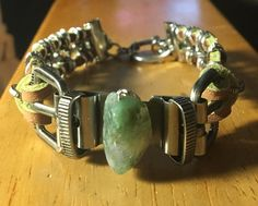 Handmade Men's Genuine Moss Agate Nugget Brown Suede Leather Cuff Steampunk Boho Chain Linked Bracelet jewelry by WishboneJewelryCraft on Etsy
