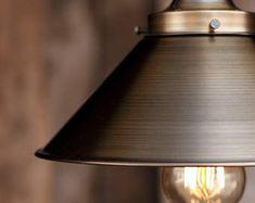 The Logger Pendant Light - Industrial Rope Lighting - Steel Swag Ceiling Lamp - Rustic Metal Shade Hanging Lights Fixture -Edison bulb Rustic Pendant Lighting, Rope Lighting, Industrial Lighting, Wooden Barn, Modern Bathroom Decor, Pipe Lamp, Hanging Lights, Canopy, Light Fixtures