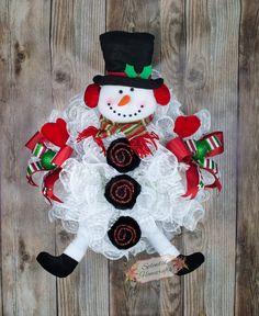 Snowman Wreath, Snowman Winter Wreath, Snowball Wreath, Snowman Door Wreath, Snowman Legs Wreath, Christmas Mesh Wreath, Snowman Decor by Splendid Homecrafts on Etsy