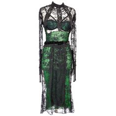 Tom Ford Fall 2011 Chantilly Lace Dress emerald green 44 NWT | From a collection of rare vintage evening dresses at http://www.1stdibs.com/fashion/clothing/evening-dresses/
