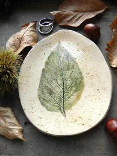 Green Leaf Ceramic Dish Organic Shape Rustic Pottery by Ceraminic