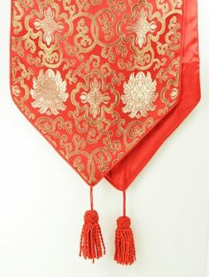 Traditional Chinese Decorative Table Runner - Red with Classic Chinese Floral Design - Zen Design/Classic Asian Decoration by zeninspired.com. $34.95. Machine washable. Iron at low temperature to smooth away any wrinkles. Dimensions:72 in. L x 13.5 in. W Materials: Polyester. Table runner is red with Chinese floral design. Premium quality polyester provides a soft yet durable surface. Add this great looking table runner to your home and add asian flavor to you...