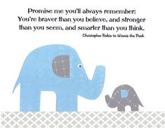 Promise Me You'll Always Remember in Light Blue and Gray  Kids Wall Art Bab