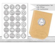 "www.papierbuedchen.de - DIY Adventskalender \"" Tüten & Aufkleber \"" (K28)"
