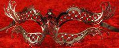 Delicate Venetian black metal luxury  mask