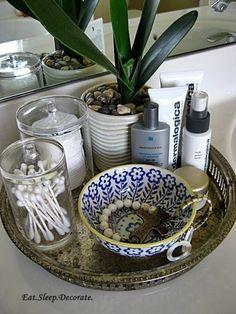 9. Add a Tray - 48 #Super Smart Bathroom #Organization Ideas ... → DIY #Bathroom