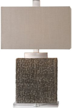 Vertically Textured, Heavy Concrete Base, Finished With A Taupe Wash And Burnished Distressing, Accented With Brushed Nickel Plated Details And A Thick Crystal Foot. The Rectangle Hardback Shade Is A Beige Linen Fabric.