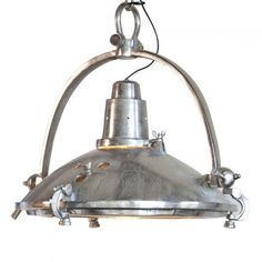 Senior Large Industrial Ceiling Pendant Light - Nickel from Litecraft