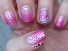 Breast Cancer Awareness Nail Designs | pink ribbon mani for breast cancer awareness