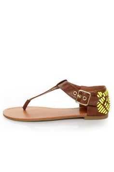 a57cf3e8de8 Bamboo Sloane 10 Chestnut and Neon Yellow Thong Sandals