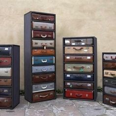 James Plumb has created these stunning dressers from vintage suitcases.