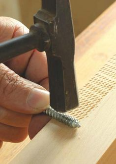 Adding texture to wood with tools | Use a screw or lag bolt and create a border by tapping lightly with a mallet or hammer | Works best with softer and medium density woods