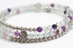 Purple Pop Rainbow Fluorite & Silver Memory Wire by SeaPonyStudio