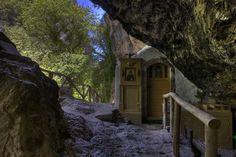 Agios Antonios Church in Patsos Gorge Greece, Building, Plants, Mountain, Travel, Rock, Europe, Island, Greece Country