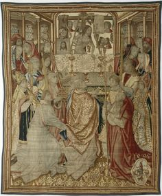 Grave the family carpets Holzschuher with Holy Mass of Pope Gregory, 1495, Brussels, Materials / Techniques: Knitting, Warp: wool dyed, weft: wool, silk, multiple colors, margins renewed from blue wool, warp density 6-8 fibers / cm  Dimensions: H 296 cm, 247 cm B.