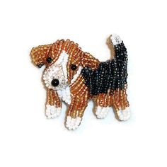 POCKET BEAGLE Tiny Beaded Keepsake Dog Pin Pendant Art Jewelry / Ready to Ship