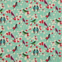 turquoise echino birds and berries laminate fabric-- something for our kitchen